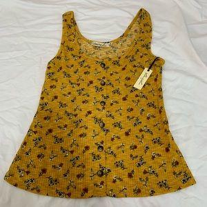 Mustard Yellow Flower Tank w/ Buttons
